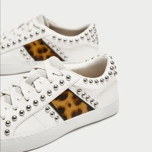 d9ebb7075eaf Zara Shoes | Nwt White Studded Sneakers With Leopard Print | Poshmark